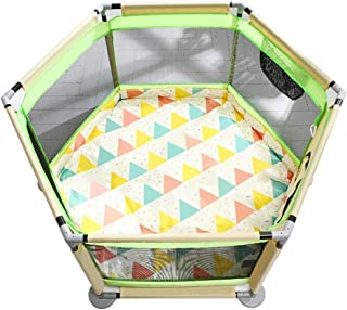 YEHL Playpen Baby 6-Panel Play Yard with Balls Children s Play Fence Indoor Shatter-resistant Fence Safety Crawling Mat  Color Green rice