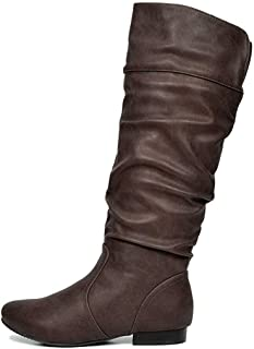 Women's Wide Calf Knee High Pull On Fall Weather Winter...