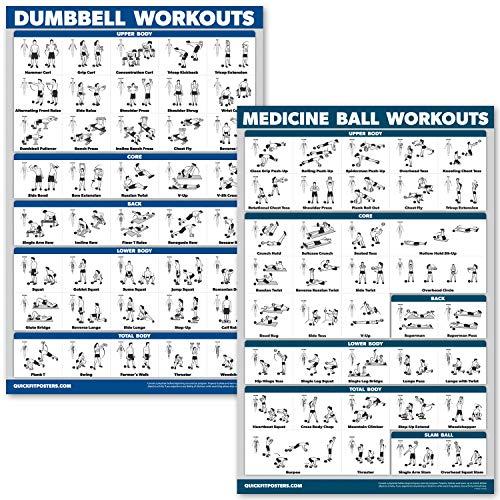 QuickFit 2 Stück – Hanteltraining und Medizinball Übungsposter – Set mit 2 laminierten Diagrammen – Hantel und Medizinball – 45,7 x 68,6 cm