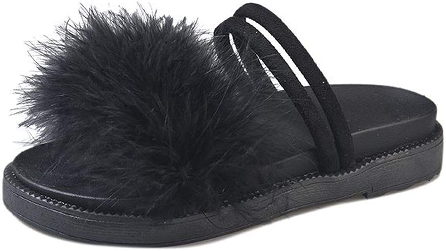 Huntty Luxury Fur Hair Sexy Lady Outside Slipper 2019 Summer Vacation Beach Sandals Thick Sole Platform Student Casual shoes