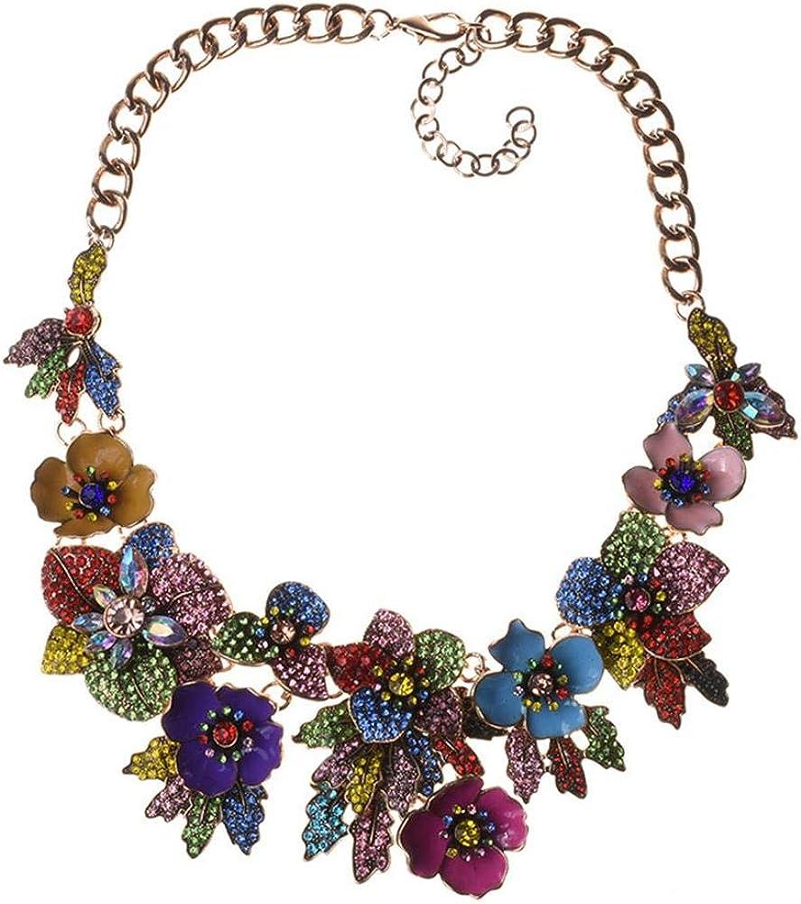 VECANCE Retro Baroque Enamel Irregular Flowers Statement Choker Collar Necklace Bohemian Bijoux Jewelry