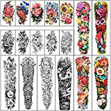 Full Arm Waterproof Temporary Tattoos 8 Sheets and Half Arm Shoulder Tattoo 10 Sheets, Extra Large LastingTattoo Stickers for Girls and Women (22.83'X7.1')