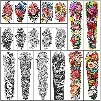 Full Arm Waterproof Temporary Tattoos 8 Sheets and Half Arm Shoulder Tattoo 10 Sheets Extra Large LastingTattoo Stickers for Girls and Women  22.83 X7.1
