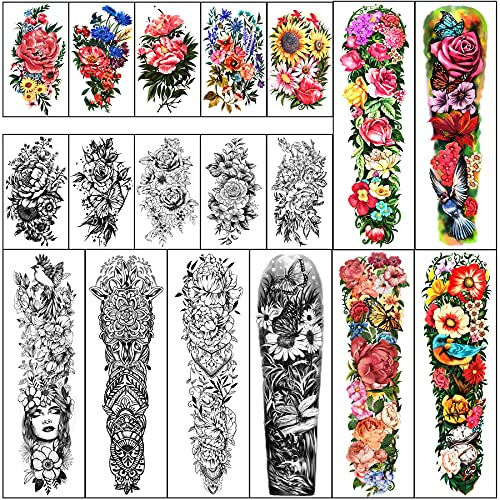 Full Arm Waterproof Temporary Tattoos 8 Sheets and...