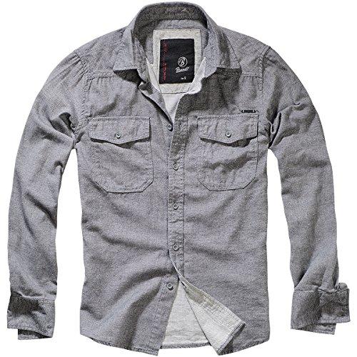 Brandit Herren Shirt in Tweedoptik Freizeithemd, Grau (Grey-Offwhite 156), Large