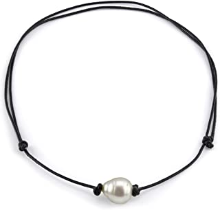 """THE PEARL SOURCE Leather 11-12mm Baroque Genuine White South Sea Cultured Pearl Necklace in 18"""" Princess Length for Women"""