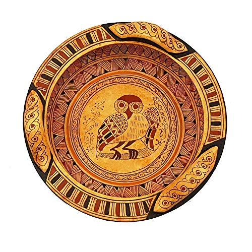 Cerámica griega geométrica Lekanis 18 cm de diámetro, búho en el medio