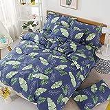 yaonuli Vierteiliger Leinenbezug aus Twill-Baumwolle, DREI Sätze dunkler Blätter (Bettlaken: 160 * 230 cm, Bettlaken: 150 * 200 cm)