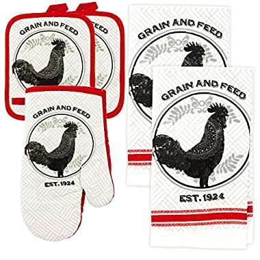 MJM Innovations Kitchen Towel Linen Set of 5 Pieces | 2 Towels 2 Potholders & 1 Oven Mitten | Featuring Black Rooster on a White Background With Red Decorative Edges Modern Classic Decor (Rooster)