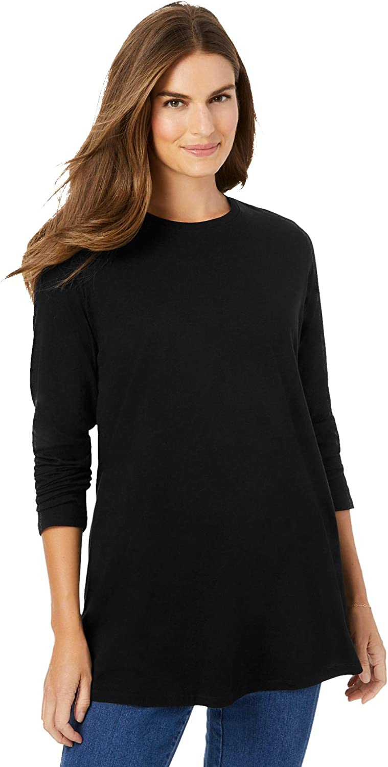 Woman Within Women's Plus Size Long Sleeve Crewneck Perfect Tunic
