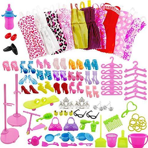 WENTS Kleidung zubehör Set Für Barbie Puppen Kleider Schuhe Kleiderbügel Puppe Stand Halter Accessoires für Kinder Geschenk Klamotten Party Kleider Puppen Zubehoer 85 PCS