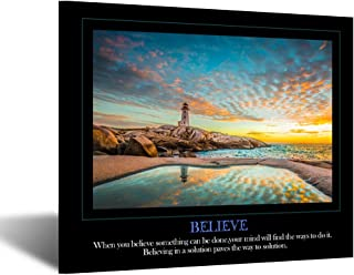 Kreative Arts Believe Canvas Quotes Wall Art Decor Family Decorative Signs Inspirational Motto Canvas Prints Giclee Artwork Inspiration Painting Gift for Classroom Study Room Office Decor (Believe)