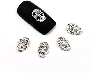 MEILIND Nail 3D DIY Rhinestone Cool Punk Silver Skull Alloy Metal Nail Art Decoration Tips 10Pcs