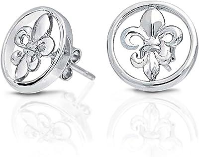 Round Disc Open Fleur De Lis Orecchini stud da donna lucidati 925 Sterling Silver