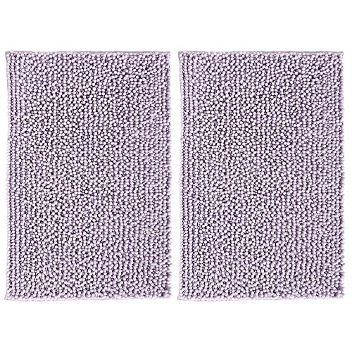 mDesign Soft Microfiber Non-Slip Polyester Non-Slip Rectangular Spa Mat, Plush Water Absorbent Accent Rugs for Bathroom Vanity, Machine Washable - 30' x 20' - Sets of 2, Lavender/Purple