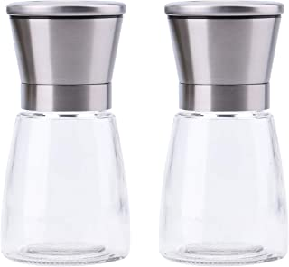 Salt and Pepper Grinder Set,6 Oz Glass Body with 2 Salt & Pepper Shaker, Spice Mill Grinders with Adjustable Coarseness, Ceramic Rotor (Short) by THETIS Homes