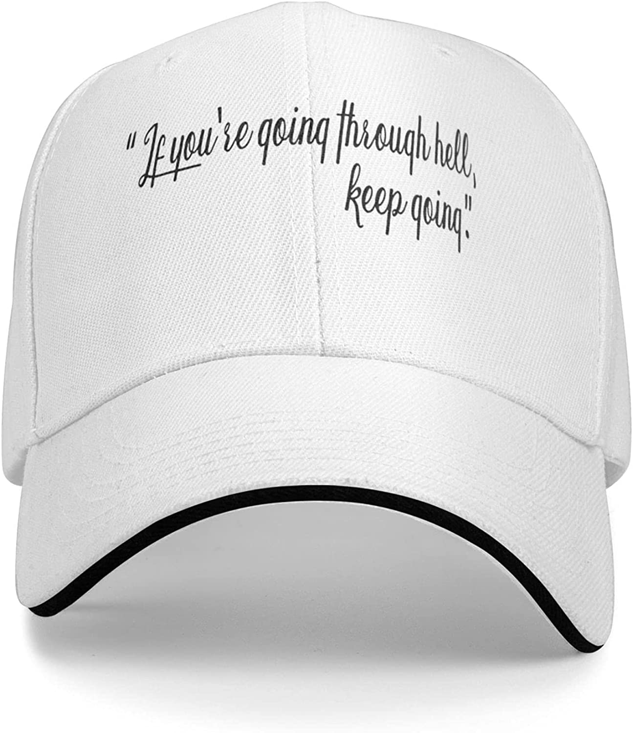 If You are Going Through Hell, Keep Going Flat Bill Hat Snapback Hats for Men Baseball Cap Trucker Hats Mens Adjustable Black