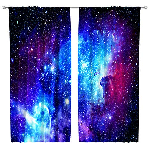Riyidecor Galaxy Outer Space Nebula Curtains (2 Panels 42 x 63 Inch) Blue Rod Pocket Universe Planets Psychedelic Fantasy Star Black Art Printed Living Room Bedroom Window Drapes Treatment Fabric