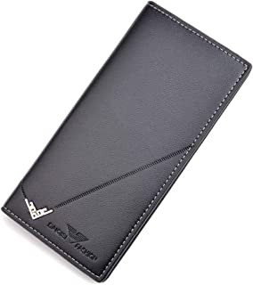 FEIXAING Men's Long Thin Slim Leather Wallet Credit Card Clip Money Bag Business Card Organizer Bi-Fold Passport Wallet Me...