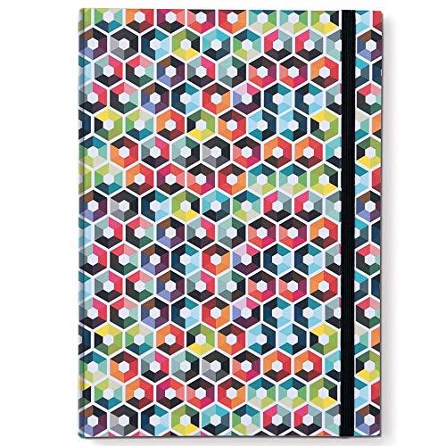 Remember Notizbuch DIN A5 mit Gummiband Hexagon x 15 x 21,3 x 1,5 cm