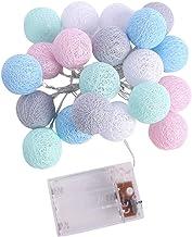 Cordão de luzes de bola de algodão com 20 lâmpadas de LED operadas por bateria para decoração de festa de casa (branco que...