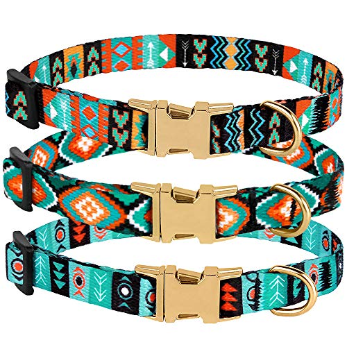 CollarDirect Nylon Dog Collar with Metal Buckle Tribal Pattern Puppy Adjustable Collars for Small Dogs (Pattern 2, Neck Fit 7'-11')