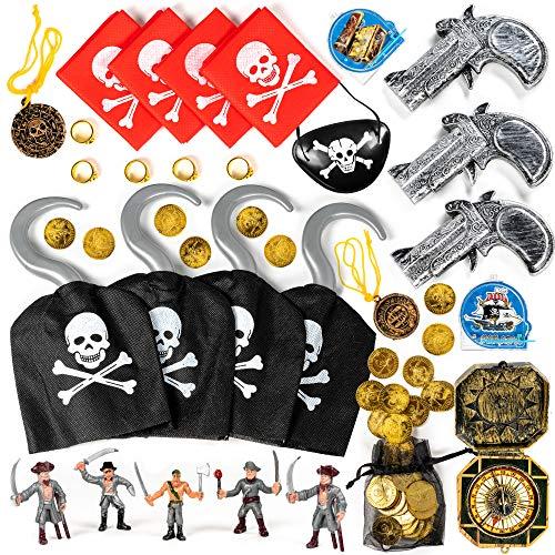 THE TWIDDLERS 80 Granel Juguetes Fiesta Piratas - Accesorios Disfraces Brújulas Pistolas Monedas Collares - Rellenar Piñatas Bolsas Regalo Cumpleaños Colegio del Partido Favor Niñas Infantiles Niños