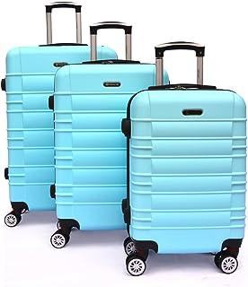 SHAIK Serie CLASSIC Maletas De Viaje Set De 3 Piezas - Candado TSA 45/78/124 Capacidad De Litros Cubierta Dura Y Equipaje De Mano Con Ruedas 360? De Rotación (Azul celeste, 3 Piezas)