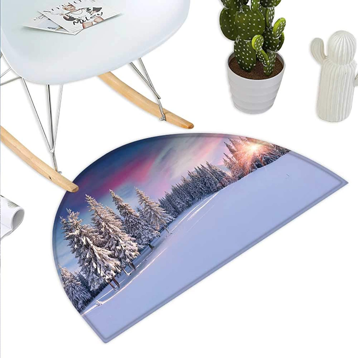 Winter Semicircle Doormat Idyllic Panorama of Winter Sunrise in Snow Covered Mountains Serenity Freshness Halfmoon doormats H 43.3  xD 64.9