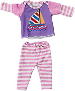 JELEUON BBaby Doll Clothes Accessories 2 Pieces Sailboat Car Print Outfits Tracksuit Set for 14-18 inch Baby Kids Doll Toy...