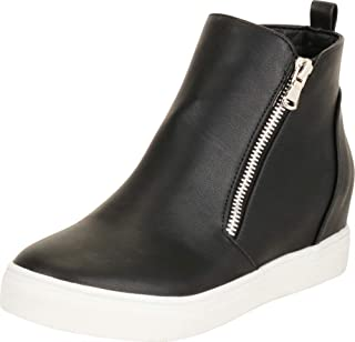 Cambridge Select Women's High Top Side Zip Hidden Wedge Fashion Sneaker