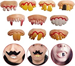 Odowalker 10 Pcs Different Style Fake Teeth Toy Funny Fake False Teeth Vampire Denture Teeth Halloween Decoration Props Costume Party Funny Gag Gift