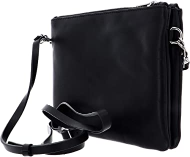 Esquire Silk Small Double Zip Crossbody Bag Black