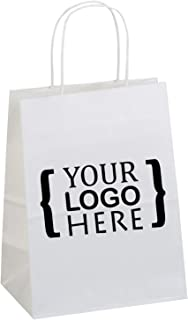 Flexicore Packaging White Kraft Custom Printed Paper Bags Size: 8 Inch X 4.75 Inch x 10.25 Inch   Count: 100 Bags   Color: White