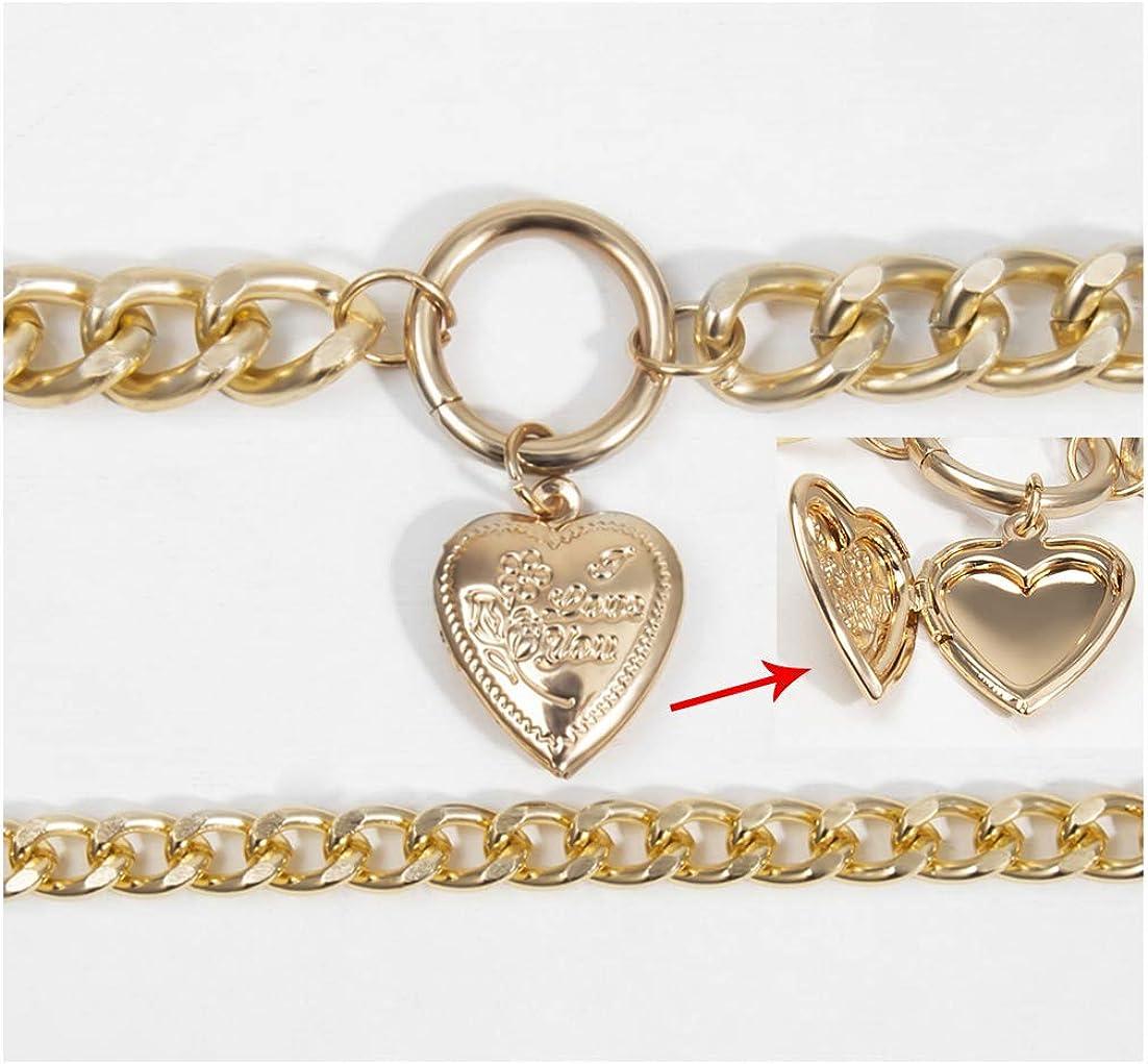EFTOM Layered Chain Choker Necklaces for Women Gold Punk Chunky Choker Elegant Heart Locket Lock Pendant Necklace