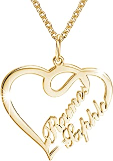 SOUFEEL Personalized Name Necklaces for Women Heart Shaped Nameplate Pendant 925 Sterling Silver Customized with Two Names Custom Gifts for Girls
