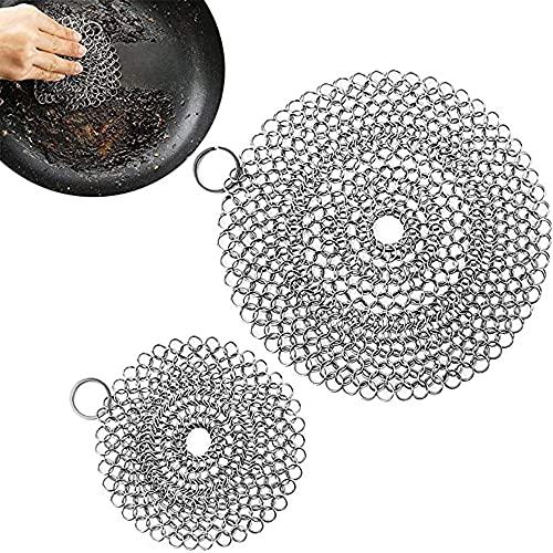 Gusseisenreiniger für Dutch Oven,2 Edelstahl Gusseisenreiniger zum Reinigen von Speiseresten aus Dutch Oven oder Anderen Utensilien
