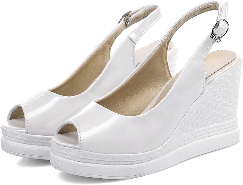 Aworth Women Sandals Fashion Solid color Summer High Heels Sandals Wedges shoes Elegant Peep Toe Buckle