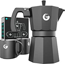 Coffee Gator Espresso Moka Pot - Rapid Stovetop Coffee Brewer - Includes 2 Stainless Steel Vacuum Insulated 3 Ounce Mugs - 12 Ounce/6 Cup Brewing Capacity