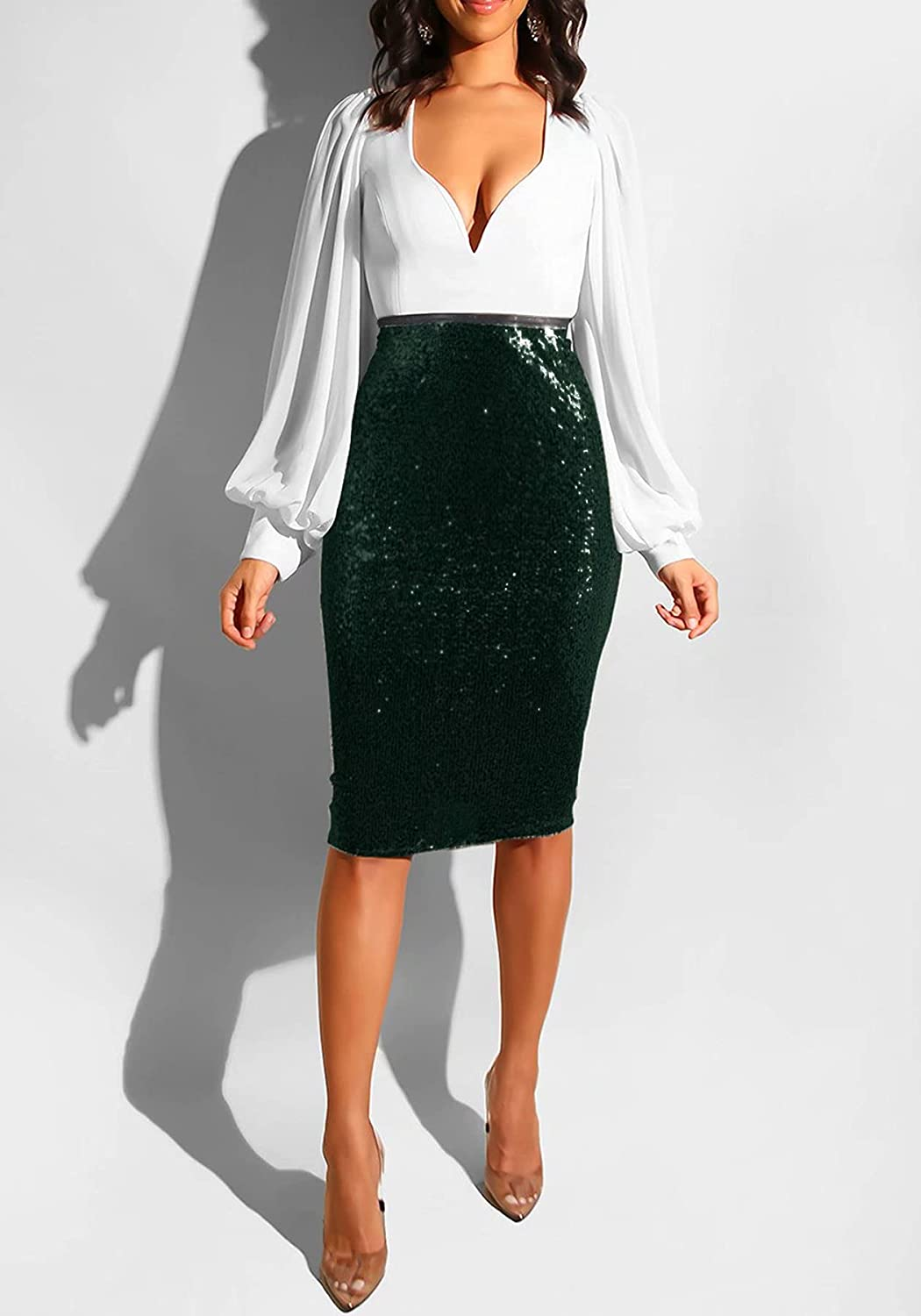 LROSEY Elegant Sequence Skirt for Women with Lining Bodycon High Elastic Waisted
