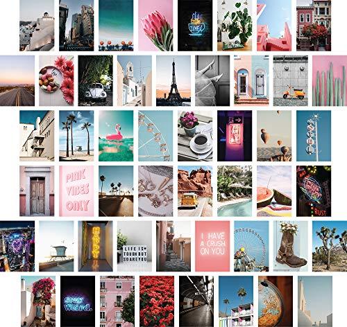 ARTIVO Foto-Wand-Collagen-Set, ästhetische Bilder, 50 Stück, 10,2 x 15,2 cm, VSCO Mädchen-Schlafzimmer-Dekor, Schlafsaal-Wanddekoration, Fotosammlung
