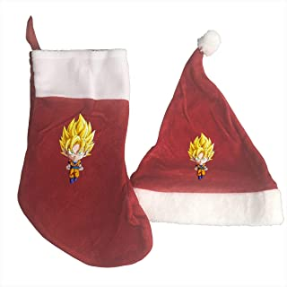 Dragon Ball Z Christmas Stockings and Santa Hat Gift/Treat Bags Xmas Party Mantel Decorations Ornaments Red