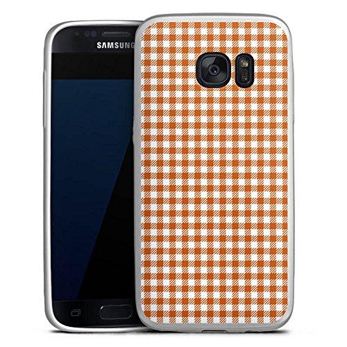 Samsung Galaxy S7 Silikon Hülle Silber Case Schutzhülle Karo Picknick Decke
