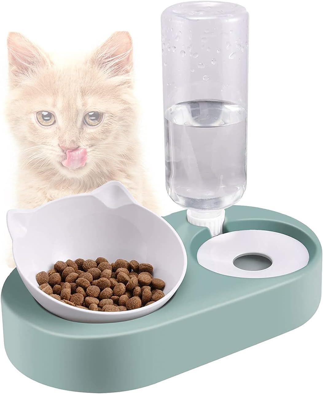 Cuenco de Gato,Comedero y Bebedero Gatos Perros,15°Inclinación Tazón de Alimentación para Gatos,Tazón Soporte y Botella Pet para Gatos,Se Puede Utilizar para Gatos y Cachorros