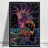 LLXHGAbstrakte Schwarzlicht Gemälde Kunst Psychedelic Trippy Poster Moderne Wand Leinwand Wandbilder Für Wohnzimmer Wohnkultur-60X80 cm Kein Rahmen