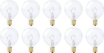 Simba Lighting Small Globe G16.5 Round Bulb 40W E12 Candelabra Base (10 Pack) for Chandelier, Ceiling Fan Light, Decorative Vanity Lights, Wall Sconce, Clear Glass 110V 120V, 2700K Warm White Dimmable