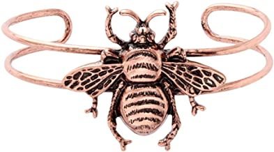 MANZHEN Antique Bumble Bee Charm Bangle Bracelet Double Cuff Bangle for Women
