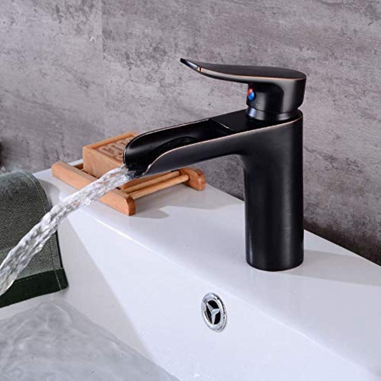 Wasserhahn Küche Waschbecken Badezimmer Wasserhahn Deck Montiert Schwarz Becken Wasserhahn Messing Wasserfall Bad Wasserhahn Platz Waschbecken Einzigen Handgriff Heies und Kaltes Wasser Hhne