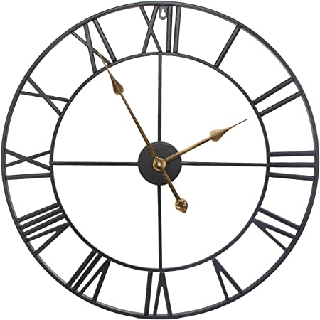 Seju 60cm Large Metal Wall Clocks Silent Non Ticking Vintage Retro Style Wall Clock With Roman Numerals For Living Room Garden Bedroom Kitchen Office Lounge Hotel Decor Gift Black Amazon Co Uk Kitchen