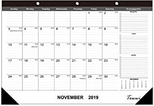 "TOWWI 2019-2020 Year Monthly Desk Pad Calendar, 16.8"" x 11.7"" Desktop Wall Calendar for Daily Schedule Planner"